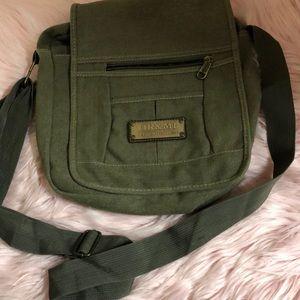 Army green crossbody purse vintage look